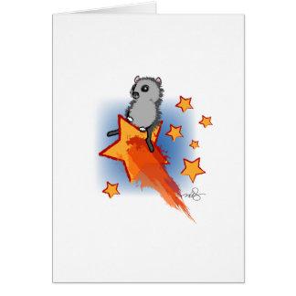Cartão Wombat que monta uma estrela de tiro
