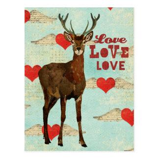 Cartão Woodsy do amor dos alces Cartão Postal