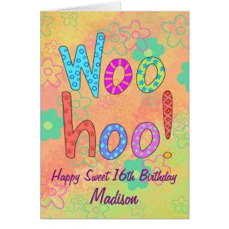 Cartão WooHoo o nome personaliza o aniversário feliz do