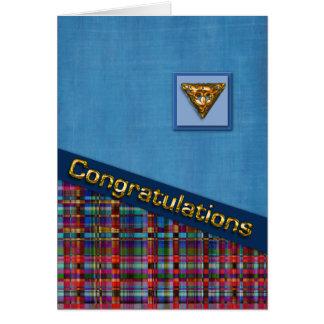 Cartão Xadrez azul e vermelha 3D Congrats