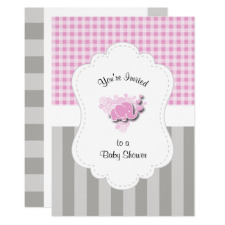 Cartão Xadrez cor-de-rosa & branca. A cinza listra o