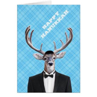 Cartão Xadrez feliz do azul dos cervos de Hanukkah do