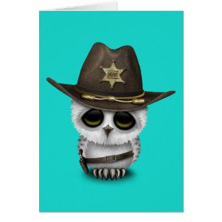 Cartão Xerife bonito da coruja do bebê