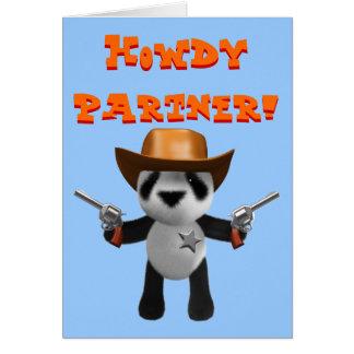 Cartão Xerife bonito da panda do bebê 3d