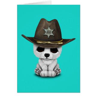 Cartão Xerife bonito de Cub de urso polar do bebê