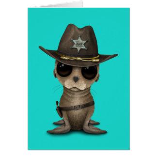 Cartão Xerife bonito do leão de mar do bebê