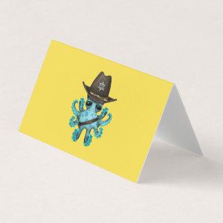 Cartão Xerife bonito do polvo do bebê azul