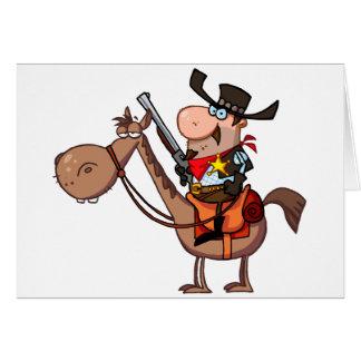 Cartão Xerife com a arma no cavalo