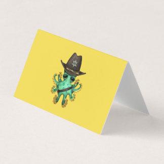 Cartão Xerife verde bonito do polvo do bebê