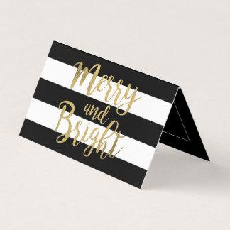 """Cartão Xmas """"alegre & brilhante"""" da listra preta & branca"""
