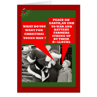 Cartão Xmas engraçado do slogan das galinhas de bateria