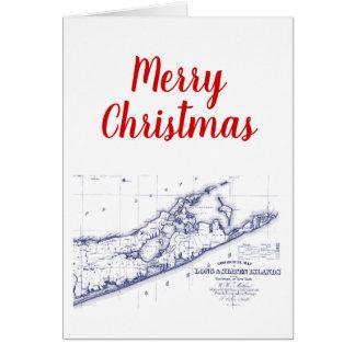 Cartão Xmas Long Island do Natal o mapa VC de Hamptons