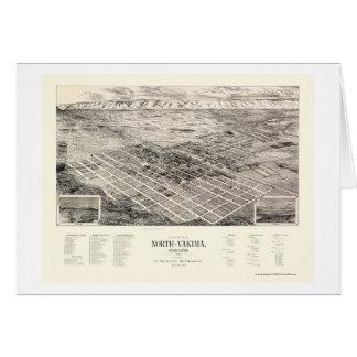 Cartão Yakima norte, mapa panorâmico de WA - 1889