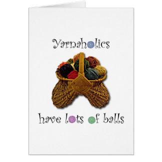 Cartão Yarnaholics tem lotes das bolas