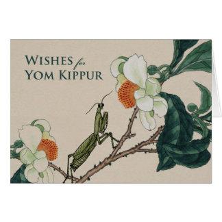 Cartão Yom Kipur engraçado, louva-a-deus Praying e flores