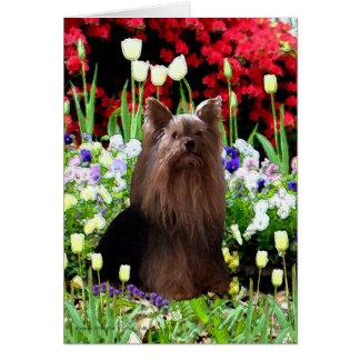 Cartão Yorkshire terrier & flores