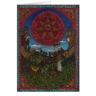 Cartão Yule, o rei do azevinho e o rei do carvalho