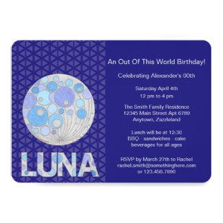 Cartão Z Luna geek azul e roxo da Lua cheia do espaço