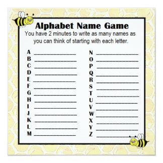 Cartão Zangão do BINGO do jogo do nome do alfabeto do chá