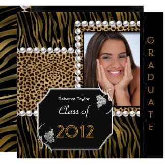 Cartão Zebra branca do leopardo do preto do ouro da festa