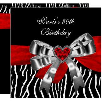 Cartão Zebra branca preta vermelha da prata do partido de
