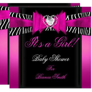 Cartão Zebra do preto do rosa quente do bebê da menina do