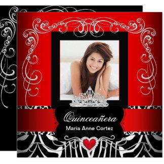 Cartão Zebra do vermelho do aniversário de Quinceanera da