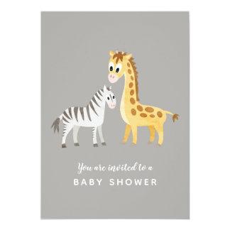 Cartão Zebra e girafa do chá de fraldas do tema do safari