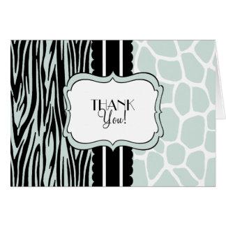 Cartão Zebra e Girafa-Obrigado prudentes você