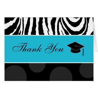Cartão Zebra & impressão das bolinhas com boné: Azul