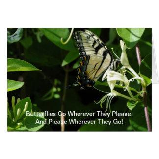 Cartão Zebra Swallowtail na madressilva