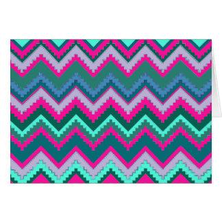 Cartão Ziguezagues tribais cor-de-rosa azuis de Chevron