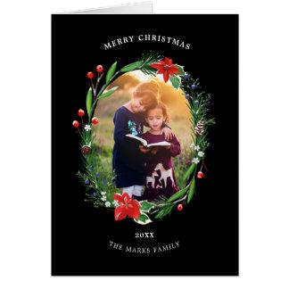 Cartão Zimbro das bagas dos pinhos da festão do Natal