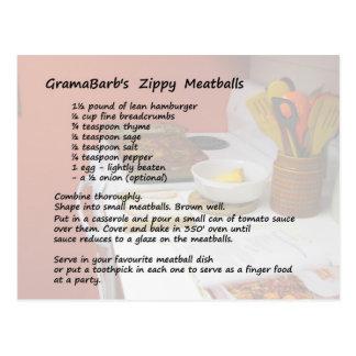 Cartão Zippy da receita dos Meatballs