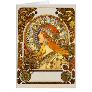 Cartão Zodíaco de Nouveau da arte