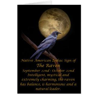 Cartão Zodíaco do nativo americano o corvo