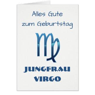 Cartão Zodíaco Geburtstag do Virgo de Blau Jungfrau