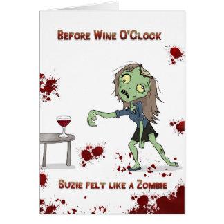 Cartão Zombi da hora do vinho
