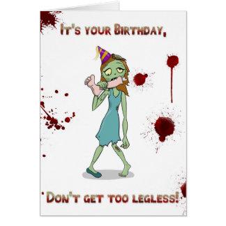 Cartão Zombi Legless do aniversário