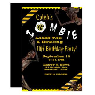 Cartão Zombis amarelos & festa de aniversário preta