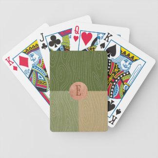 Cartas De Baralho A cor do Woodgrain obstrui o verde e o cobre da