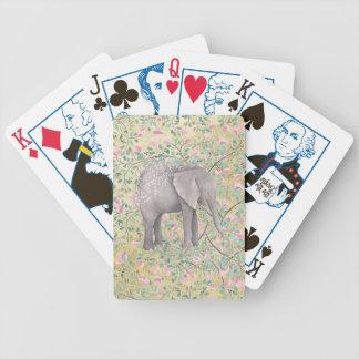Cartas De Baralho Brilho do ouro das flores do elefante da aguarela