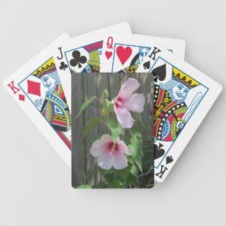 Cartas De Baralho Rosa no duo cor-de-rosa de flores do hibiscus