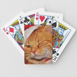 Cartas De Baralhos Gato alaranjado - gato de Papai Noel - Feliz Natal