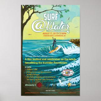 """Cartaz 11"""" do @Water do surf x 17"""" Pôster"""