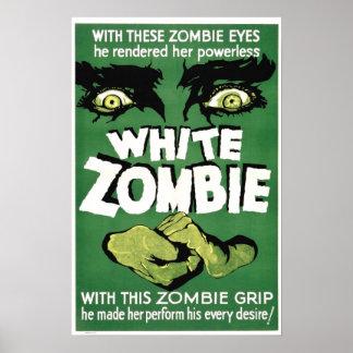 Cartaz cinematográfico branco do zombi pôster