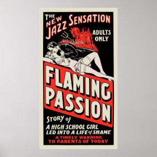 "Cartaz cinematográfico do vintage - ""paixão flamej pôster"