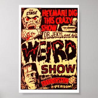 Cartaz cinematográfico estranho de Frankenstein Pôster