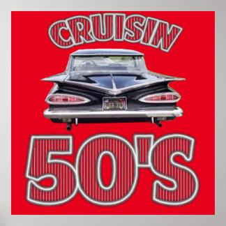 Cartaz clássico do anos 50 de Cruisin dos carros Poster