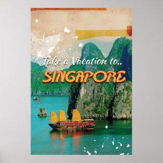 Cartaz das férias de Singapore do vintage Pôster